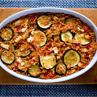 Baked Orzo With Tomatoes, Roasted Peppers and Zucchini