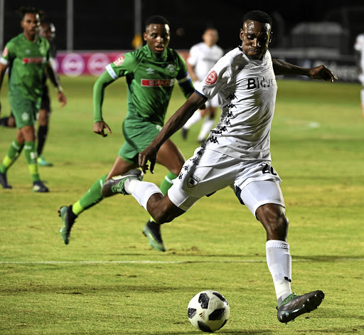Wits striker Mxolisi Macuphu pulls the trigger against AmaZulu on Wednesday night. His partnership with another new signing, Gift Motupa, has yielded four goals.