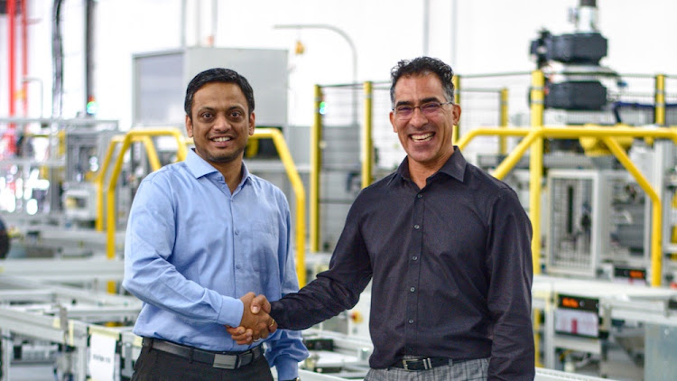Group MD Quinton Uren (right) and Jendamark India CEO and director Himanshu Jadhav at the company head office in Port Elizabeth.