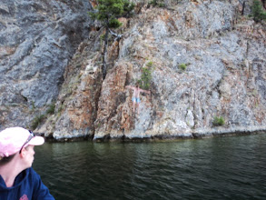 Photo: If you look close about halfway between the bottom of the tree and the water and a little to the right of the tree you see Cole just after jumping. Please note as well, Mom's calm exterior as he did so. Inside I don't think she was quite that calm. Kudos to her!
