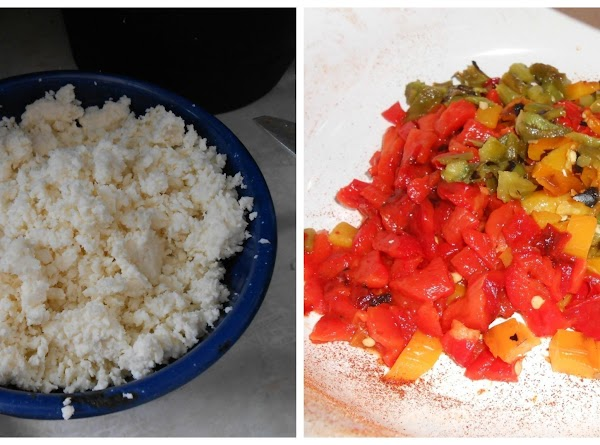 Place Cotija cheese and diced peppers on top.