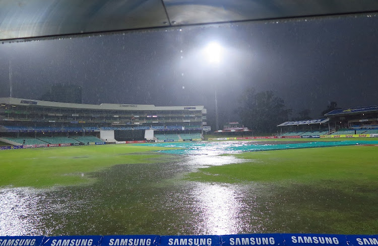 General views of the venue after persistent rain during the RAM SLAM T20 Challenge match between Hollywoodbets Dolphins and Warriors at Sahara Stadium Kingsmead on November 22, 2017 in Durban.