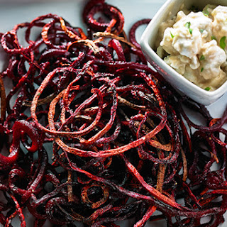 Roasted Beet Strings with Balsamic Goat Cheese Dip.
