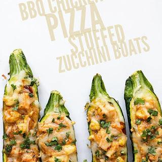 BBQ Chicken Pizza Stuffed Zucchini Boats