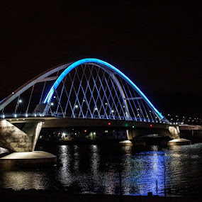 BLUE NIGHT by Beth Krzes - Buildings & Architecture Bridges & Suspended Structures ( water, lights, night, bridge, architecture )