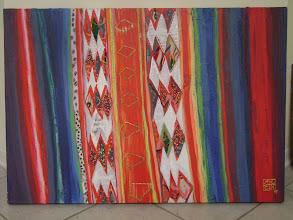 """Photo: María del Carmen Cachin Marusich """"ENCANTADA"""" Acrílico y retazos de tela sobre canvas 70 cm x 100 cm 2003 Córdoba, Argentina"""