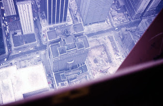 Photo: Looking down the side of the North Tower.