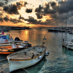 Marine landscape by Salvatore Amelia - Landscapes Sunsets & Sunrises ( marine, sunset, boats, dark sky, sea )
