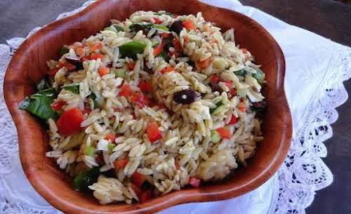 """Click Here for Recipe: Orzo and Spinach Salad """"The dressing is what..."""