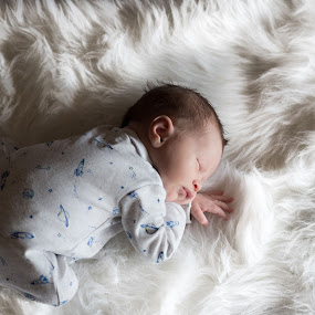 baby on Rug by Christopher Mazzoli - Babies & Children Babies ( child, rug, infant, white, fur, son, baby, boy, newborn, kid )