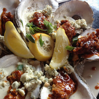 Deep-Fried Oysters with BBQ Sauce and Blue Cheese