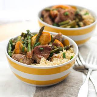 Garlic-Orange Pork Tenderloin Bowls with Asparagus.
