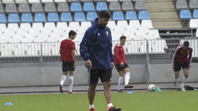 Pedro Emanuel en el entrenamiento de este jueves.