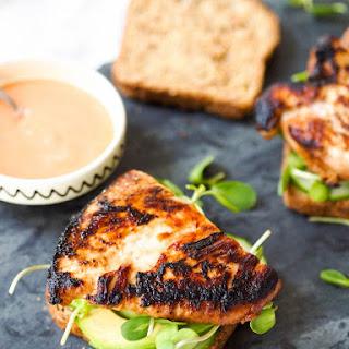 Miso Grilled Chicken Sandwich with Sriracha Mayo.