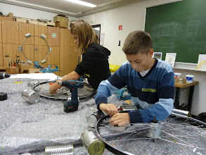 Photo: Laura and Hannes assembling there plasma cut outlines