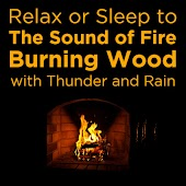 Relax or Sleep to the Sound of Fire Burning Wood with Thunder and Rain