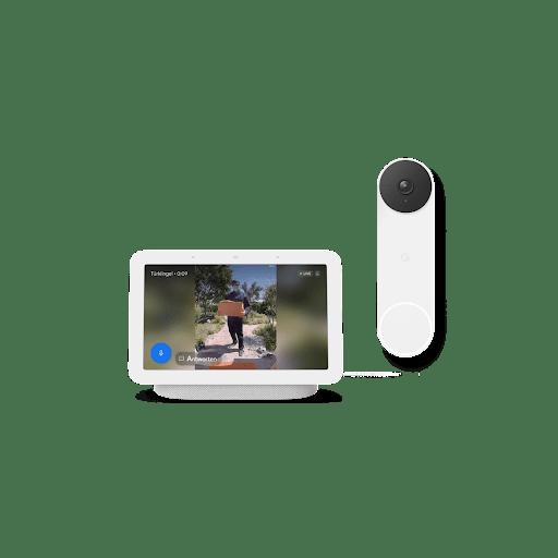 Nest Hub mit Aufnahmen von draußen, und Nest Doorbell