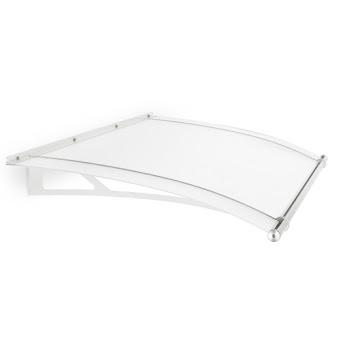 Auvent marquise de porte LT-Line, 150 x 95 cm, verre acrylique transparent ou opaque, fixations acier blanc