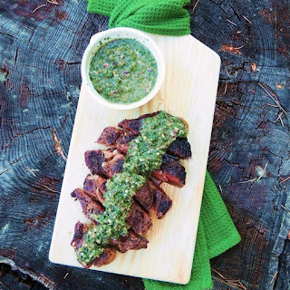 Grilled Ribeye Steaks with Roasted Jalapeno Chimichurri.