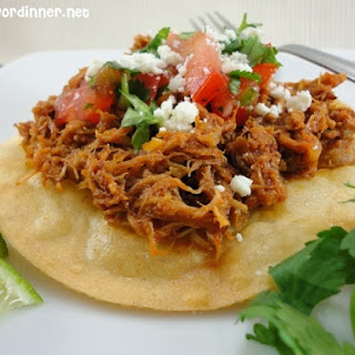 Spicy Mexican Shredded Pork Tostadas.