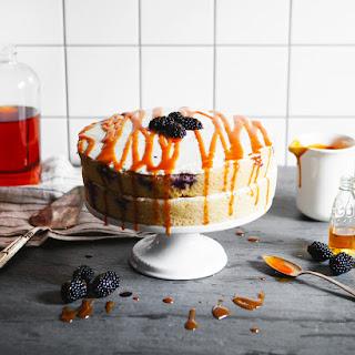 Blackberry and Bourbon Caramel Cake