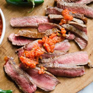 Rib-Eye Steaks with Smokey Arrabiata Sauce.