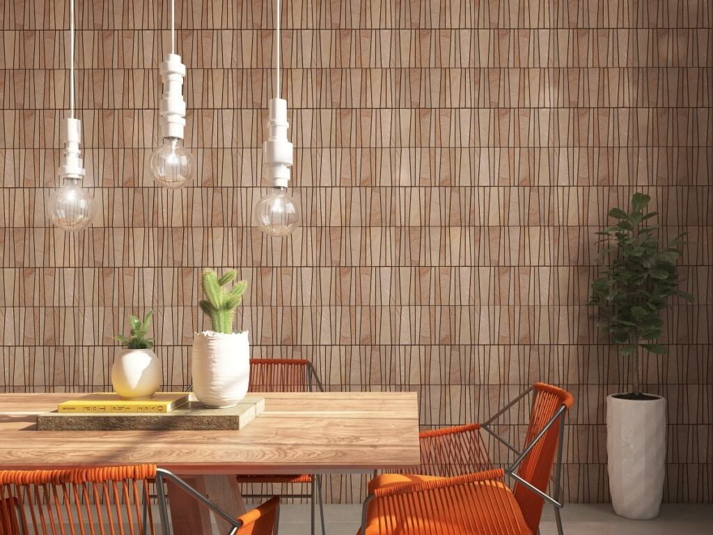 Mosaic tile feature wall in a bamboo look