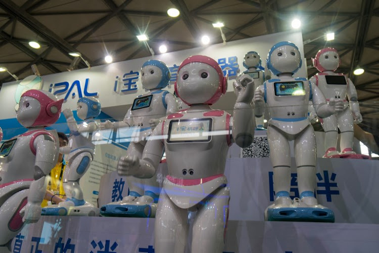 iPal robots by Avatarmind are exhibited at the Consumer Electronics Show Asia in Shanghai on June 13 2018.