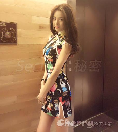 民族風性感時尚卡通印花改良旗袍包臀連身裙