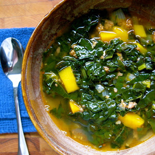 Spicy Kale, Chorizo and Squash Soup.