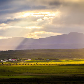 Sunlight by Edvald Geirsson - Landscapes Cloud Formations ( clouds, mountains, iceland, farmer, south )