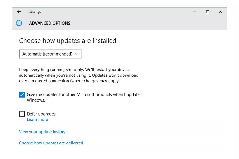Windows 10 Update Advanced Options Give me updates for other Microsoft products when I update Windows