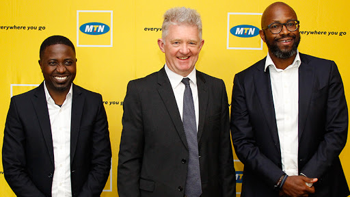 From left: MTN SA chief officer of financial services Felix Kamenga, Sanlam group CEO Ian Kirk, and MTN Group CFO Ralph Mupita.