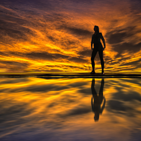 Girl on the Lake at Sunset by IP Maesstro - People Fashion ( water, girl, teen, silhouette, sunset, lake, sunrise,  )