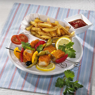 Fish Stick Kebabs with French Fries.