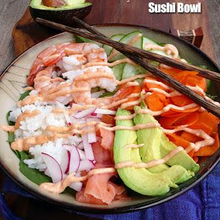 Shrimp & Smoked Salmon Sushi Bowls.