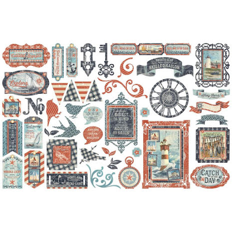 Graphic 45 Cardstock Die-Cuts - Catch Of The Day