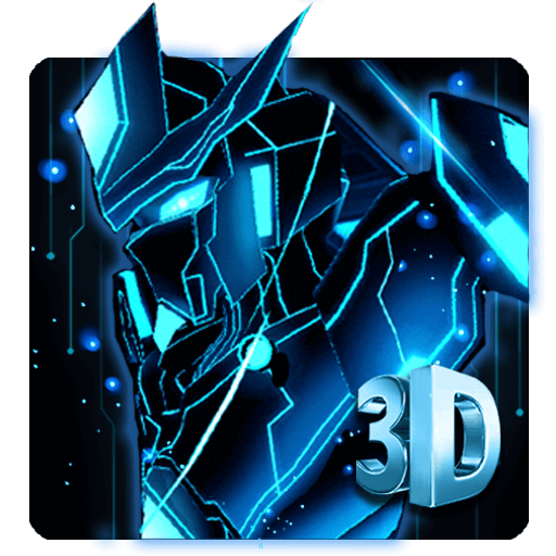 3D Blue Neon Robot Theme file APK for Gaming PC/PS3/PS4 Smart TV