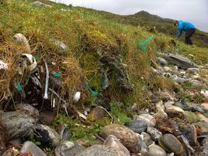 Photo: Plastic pieces ingrained in the beach front.
