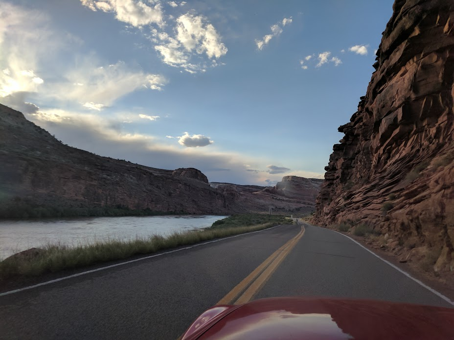 Moab to Green River scenic highway next to Colorado River