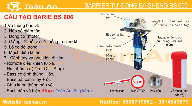 Cấu tạo và các bộ phận chi tiết của barrier tự động baisheng bs606.