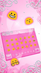 Diamond Pink Rose Keyboard Theme - náhled