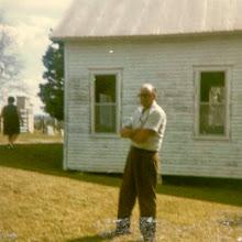 Photo: Joe Whitehead at the Webb Cemetery Chapel, undated.