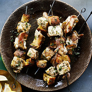 Halibut Kebabs with Grilled Bread and Pancetta.