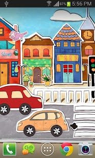 卡通城市動態桌布 Screenshot