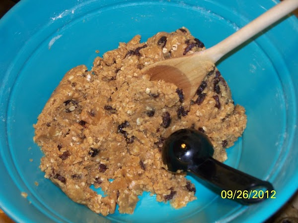 Mix together the dry and wet ingredients.  Add the oats and raisins until...