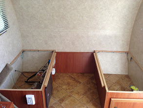 Photo: Dinette Mod: bench on the left was permanently closed due to fusebox and wiring. SO MUCH UNUSED SPACE!
