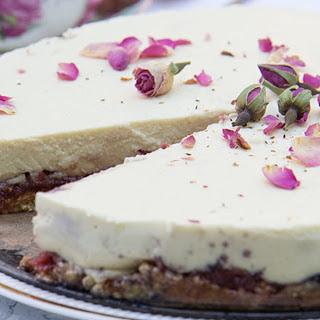 Rose Jam Cheesecake With Oat Crust [Vegan, Gluten-Free].