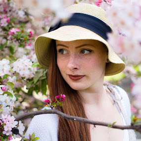 Apple Blossom 2 by John  Pemberton - People Portraits of Women ( bloom, flowers, spring, flower, portrait )