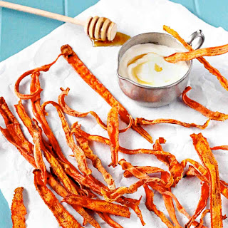 Cinnamon Carrot Chips with Honey Yogurt Dip.